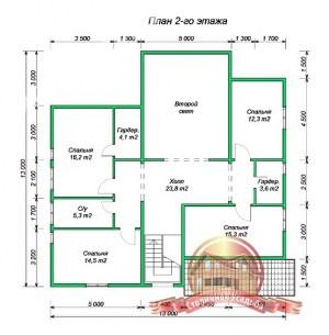 План 2 этажа проекта дома из бруса 7х10 с террасой