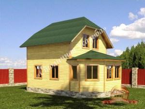 На первом плане эркер деревянного дома