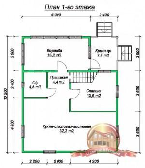 План 1 этажа проекта дома из бруса 10х8 с большими окнами и кукушкой