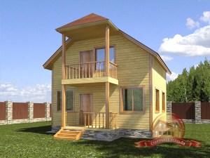 Оригинальный дом из бруса 6х7 с большими окнами