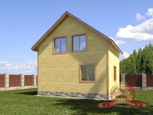 Проект дома из бруса 6х7 с террасой и балконом