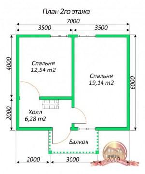 Планировка внутреннего пространства дома из бруса 6 на 7 с панорамными окнами