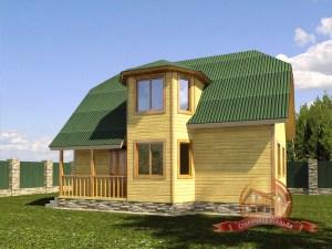 Дом из бруса 7х9 с панорамными окнами