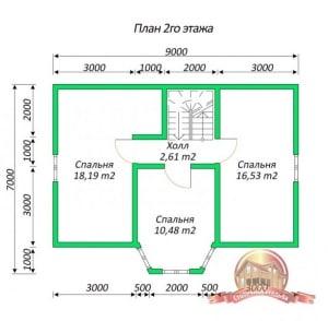 План 2 этажа дома из бруса 7х9 с панорамными окнами, эркером