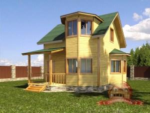Проект дома из бруса 7х8 с ломаной крышей и панорамными окнами