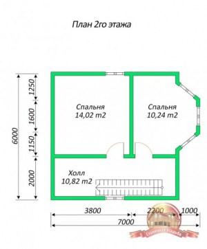 План 2 этажа проекта дома из бруса 7х8 с ломаной крышей и панорамными окнами