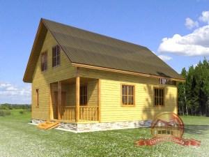 Дом из бруса 8х10 для постоянного проживания с большими окнами