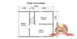 План 2 этажа проекта деревянного дома 6х8 из бруса с террасой