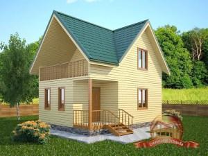 Проект деревянного дома 6х8 из бруса с террасой