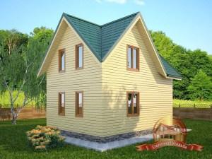 Проект дома из бруса с террасой