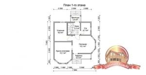 План первого этажа загородного домика 8х8