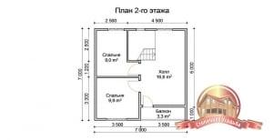 План второго этажа в доме из бруса 8х8