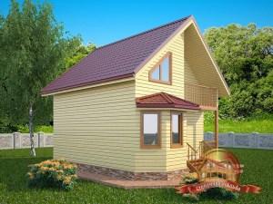 Деревянный дом с эркером и балконом