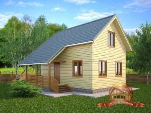 Брусовой двухэтажный дом 6х8 с террасой, 3 спальнями