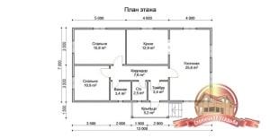План первого этажа просторного домика 7х13