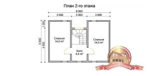 План 2 этажа брусовго дома 7х8 из бруса с просторной террасой