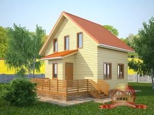 Проект дома 7х8 из бруса с просторной террасой и санузлом