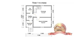 План первого этажа дома 6.5х7.5 из бруса с мансардным этажом