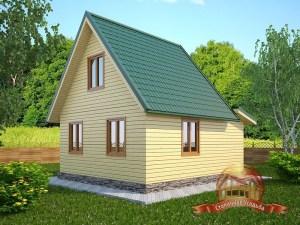 Деревянный дом с мансардой