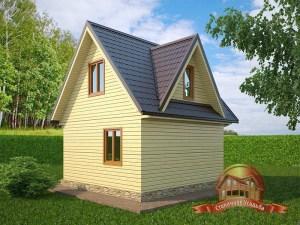 Деревянный домик 6х8 с открытой террасой