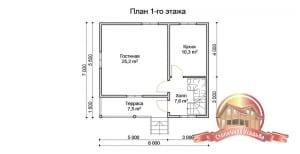 План первого этажа дома 7х8 из бруса с отличной планировкой в 2 этажа