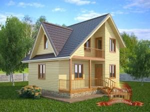 Проект дома 7х8 из бруса с отличной планировкой в 2 этажа