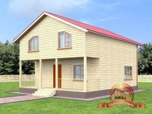 Брусовой дом 8х10 двухэтажный с террасой
