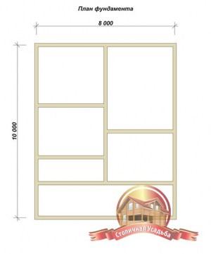 План фундамента для брусового дома 8х10 двухэтажного с террасой