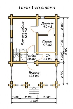 План 1 этажа бани с комнатой отдыха и террасой