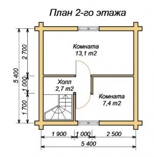 План 2 этажа бани с комнатой отдыха и террасой