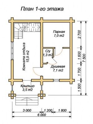 Планировка 1 этажа двухэтажной бани 6х7