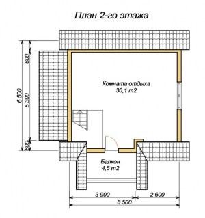 План второго этажа бани