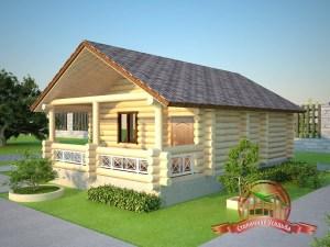 По проекту данная банька является одноэтажной и имеет террасу достаточных размеров