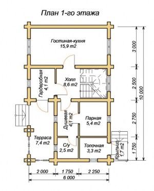 План 1 этажа гостевого дома-бани 6 х 10