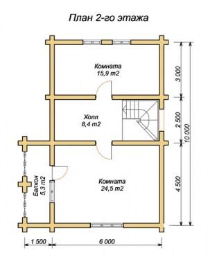 План 2 этажа гостевого дома-бани 6 х 10