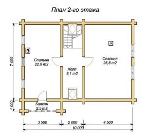 План 2 этажа гостевого дома-бани 7 х 10