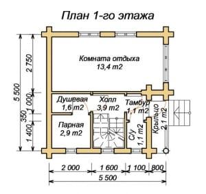План 1 этажа бани 6х6