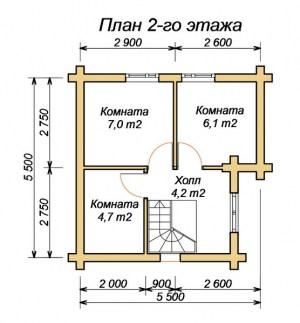 План 2 этажа бани 6х6