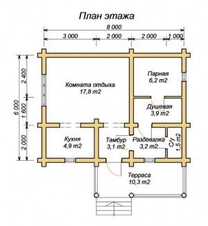План бани 6 х 8 с террасой
