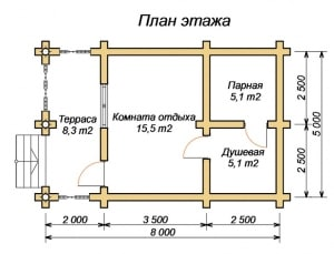План проекта бани 5 х 8