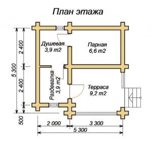 План уютной бани 5 х 5 из бревна