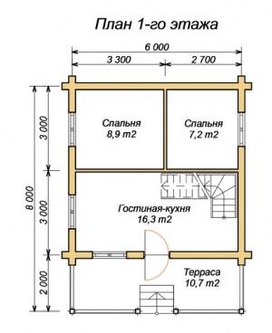 План 1 этажа проекта дома из ОЦБ 6х9