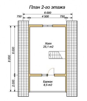 План 2 этажа проекта дома из ОЦБ 6х9