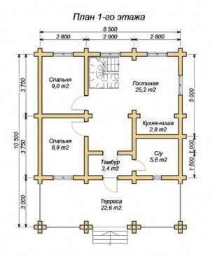Планировка 1 этажа дома из оцилиндрованного бревна 8.5х10.5 с большой террасой