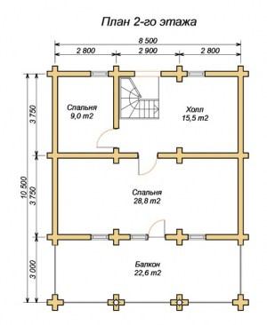 Планировка 2 этажа дома из оцилиндрованного бревна 8.5х10.5 с большой террасой