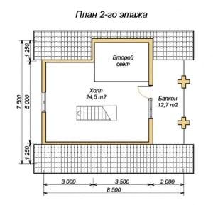 Проект дома из оцилиндрованного бревна 7.5х8.5 с террасой и вторым светом
