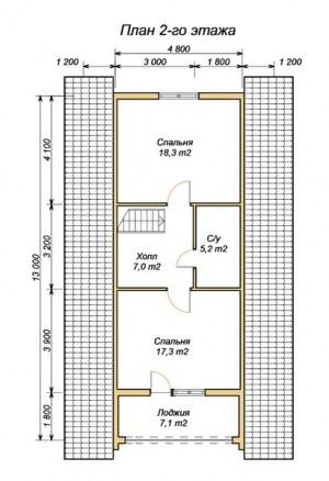 План 2 этажа проекта дома из оцилиндрованного бревна 7.2х13