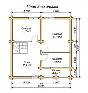 План 2 этажа дома из бревна 8х8