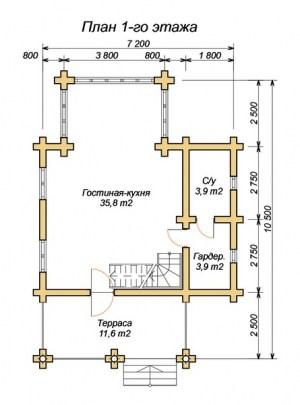 План 1 этажа проекта дома из оцилиндрованного бревна 7х10