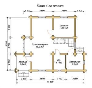 План 1 этажа проекта дома из оцилиндрованного бревна 8.7х11.1 с тремя спальнями и вторым светом